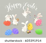 cute easter bunnies coloring... | Shutterstock .eps vector #605391914