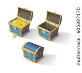 set of blue chests. open empty... | Shutterstock .eps vector #605397170
