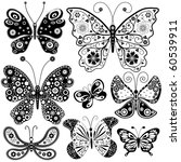 Collection black and white butterflies for design isolated on white (vector) - stock vector
