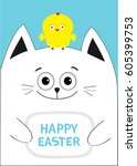cat holding happy easter text... | Shutterstock .eps vector #605399753