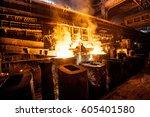 liquid steel in the tanks | Shutterstock . vector #605401580