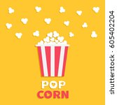 popcorn popping. red yellow... | Shutterstock .eps vector #605402204
