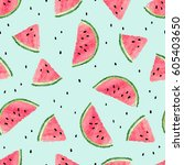 seamless watermelon pattern.... | Shutterstock .eps vector #605403650