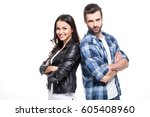 beautiful young couple standing ... | Shutterstock . vector #605408960