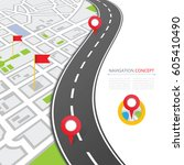 navigation concept with pin... | Shutterstock .eps vector #605410490