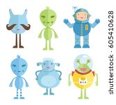 space characters cartoon icons. ...   Shutterstock .eps vector #605410628