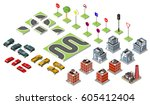 set isometric road and vector... | Shutterstock .eps vector #605412404