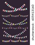 multicolored bright buntings... | Shutterstock .eps vector #605413160
