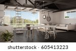 minimalist mezzanine loft ... | Shutterstock . vector #605413223