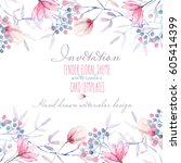 template postcard with with... | Shutterstock . vector #605414399