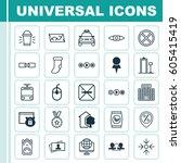 set of 25 universal editable... | Shutterstock .eps vector #605415419