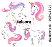 beautiful watercolor unicorns... | Shutterstock .eps vector #605415524