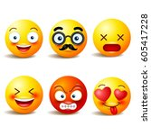 smiley face icons or yellow... | Shutterstock .eps vector #605417228