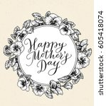 happy mothers day card with... | Shutterstock .eps vector #605418074