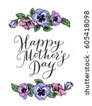 happy mothers day card with... | Shutterstock .eps vector #605418098
