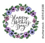 happy mothers day card with... | Shutterstock .eps vector #605418188