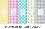 retro pastel seamless pattern... | Shutterstock .eps vector #605420690
