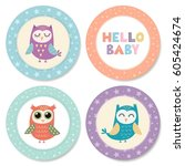 set of cute stickers with owls... | Shutterstock .eps vector #605424674