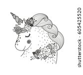 vector baby unicorn and flowers.... | Shutterstock .eps vector #605425520