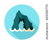 rocks in the sea vector icon.... | Shutterstock .eps vector #605430770