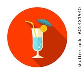 cocktail vector icon. beach.... | Shutterstock .eps vector #605431940