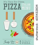 traditional italian food poster ... | Shutterstock .eps vector #605432834