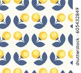 seamless retro pattern with... | Shutterstock .eps vector #605432849