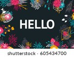floral background with flowers  ... | Shutterstock .eps vector #605434700