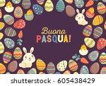 happy easter bright design card.... | Shutterstock .eps vector #605438429