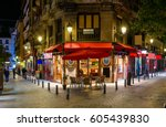 old cozy street in madrid ... | Shutterstock . vector #605439830