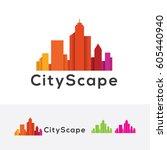 city scape  vector logo template | Shutterstock .eps vector #605440940