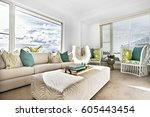 modern sofa set including table ... | Shutterstock . vector #605443454
