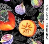 seamless watercolor pattern... | Shutterstock . vector #605444078