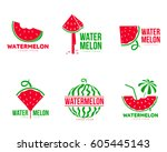 set of graphic red and green... | Shutterstock .eps vector #605445143