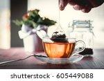 Putting Tea Bag Into Glass Cup...