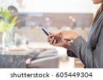 business woman in modern... | Shutterstock . vector #605449304