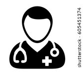 doctor icon   physician person... | Shutterstock .eps vector #605451374