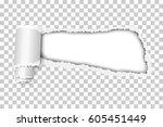 torn  snatched window in sheet... | Shutterstock .eps vector #605451449