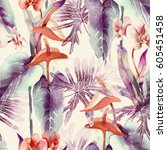 exotic flowers seamless pattern.... | Shutterstock . vector #605451458