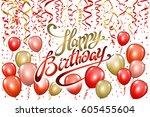 happy birthday typography... | Shutterstock .eps vector #605455604