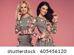 two beautiful young women in... | Shutterstock . vector #605456120