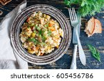brown rice with vegetables ...   Shutterstock . vector #605456786