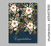 floral wedding invitation... | Shutterstock .eps vector #605457830