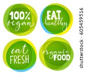 set of four vegetarian labels... | Shutterstock .eps vector #605459516