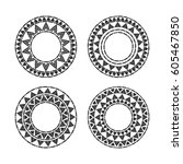 tribal round frames set vector. ... | Shutterstock .eps vector #605467850