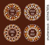 unique round tribal logo... | Shutterstock .eps vector #605467856