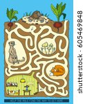 mole maze game. help the mole... | Shutterstock .eps vector #605469848