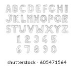 english alphabet and numerals... | Shutterstock . vector #605471564