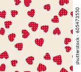 seamless hearts pattern. vector ... | Shutterstock .eps vector #605473550