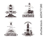lighthouse at harbor  set of... | Shutterstock .eps vector #605477180